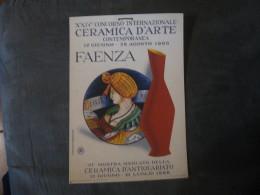 MANIFESTO   CERAMICA D ARTE CONTEMPORANEA  FAENZA 1966  34 X 24 - Manifesti