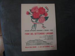 MANIFESTO   FIORI DEL SETTEMBRE LARIANO  COMO 1964    34 X 24 - Manifesti