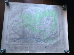 Map Sheet Feuille De Carte France Orleans City & Surrounding Area To North & East 1:50,000 Scale 1957 - Geographical Maps