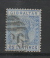 GIBRALTAR    1889    25c  Ultramarine    USED - Gibraltar