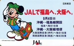 "Japan - Japanese Phonecard DISNEY.  Télécarte DISNEY Du Japon.   JAL  ""Mickey"". - Disney"
