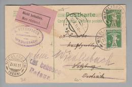 Heimat CH BE Wiedlisbach 1911-10-27 Ganzsache Nach Salzburg Nicht Behoben, Zurück - Switzerland