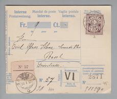 Heimat CH AG Dottikon 1907-01-30 Postanweisung Nach Basel Mit WZ Zu#64B - Switzerland
