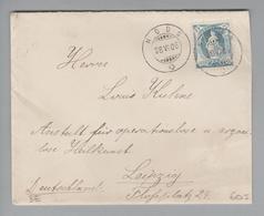 Heimat CH BE Nods 1906-06-28 Brief Nach Leipzig Mit 25 Rp. Stehende Helvetia - 1882-1906 Coat Of Arms, Standing Helvetia & UPU