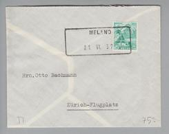 Heimat CH TI Melano 1937-06-21 Aushilfsstempel Auf Brief Nach Zürich Flugplatz - Switzerland