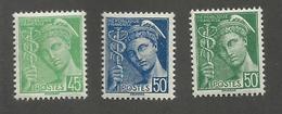 FRANCE - N°YT 414/14B NEUFS** SANS CHARNIERE - COTE YT : 7.10€ - 1938/41 - 1938-42 Mercure