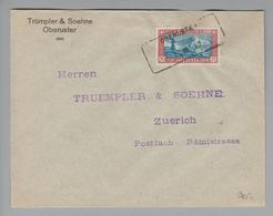 Heimat CH ZH Oberuster 1930-03-07 Aushilfsstempel Auf PJ-Brief Nach Zürich - Switzerland