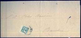 1885 , VALLADOLID - BARCELONA , CARTA CIRCULADA , FRANQUEO CUARTILLO , ED. 173 - 1889-1931 Reino: Alfonso XIII