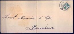 1884 , CADIZ - BARCELONA , CARTA CIRCULADA , FRANQUEO CUARTILLO , ED. 173 - 1889-1931 Regno: Alfonso XIII