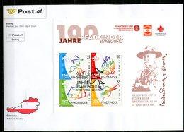 """Österreich 2007 Big First Day Cover Mi.Nr.2636/39 Block 36 U.ESST""""Block-100 Jahre Pfadfinderbewegung""""1 Big Letter Cover - Scouting"""