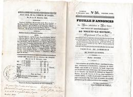 Feuille D'annonces De Nogent-le-Rotrou 1836 - Actes Judiciaires Et Avis Divers - Autographe Du Maire - 2 Scans - Giornali