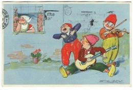 Illustrateur : Mauzan. Groupe De Musiciens Et Jeune Hollandaise. - Mauzan, L.A.