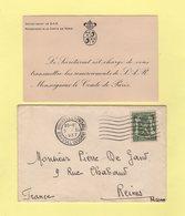 Lettre De Remerciement Pour Les Condoléances - 1934 - Monseigneur De Le Comte De Paris - Covers & Documents