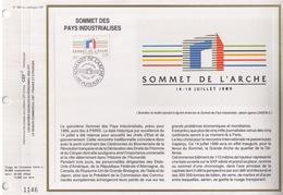 FEUILLET CEF TIRAGE 20.300 EX EN OFFSET,SOMMET DES PAYS INDUSTRIALISES A L'ARCHE DE LA DEFENSE, 1989 - Organisations