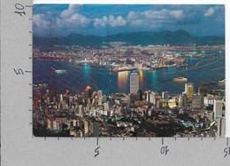 CARTOLINA VG HONG KONG - Night Scene From Peak - 10 X 15 - ANN. 1981 - Cina (Hong Kong)