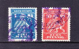 2 Stueck Bayer. Stempel, 10 Pfg + 1 Mk (48231) - Gebührenstempel, Impoststempel