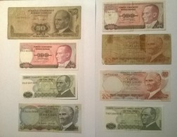 Lot De 8 Billets De Banque TURQUIE - Turkey