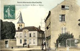 77 SAINT-GERMAIN-LES-COUILLY - Jonction Des Routes De Paris Et Melun - Carte Animée - Couleur - Frankreich