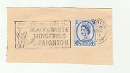 1966 GB Paignton BLACK AND WHITE MINSTRELS SHOW EVENT SLOGAN  Pmk ON PIECE Stamps Umbrella Racism Theatre - Théâtre