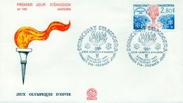 1984 , ANDORRA FRANCESA , PRIMER DIA , ED. 348 , JUEGOS OLÍMPICOS DE INVIERNO , SARAJEVO - FDC