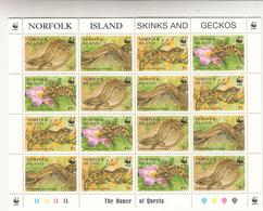 1995 Norfolk Island WWF Skinks Geckos Miniature Sheet Of 4 Sets Complete  MNH - Unused Stamps