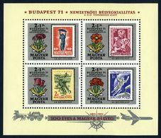 1971 Hongrie Hungary -   Stamp Centenary S/s Exhibition S/s 4v., Stamps On Stamps Mi B83 Yv B88 MNH - Francobolli Su Francobolli
