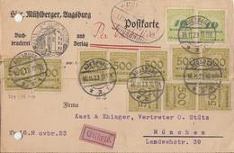 DR Karte Eilbote Mif Minr.10x 324,2x 328 Augsburg 16.11.23 - Deutschland