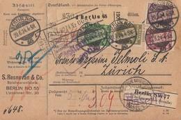 DR Paketkarte Mif Minr.343,344,359,360 Berlin 20.6.24 Gel. In Schweiz - Deutschland
