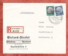 Einschreiben Reco, MiF Hindenburg, SoSt Berchtesgaden, Nach Saarbruecken, AK-Stempel 1937 (48257) - Germany