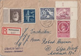 DR R-Brief Mif Minr.839,841 OER,864,868,887 Wattenscheid 22.9.44 - Deutschland
