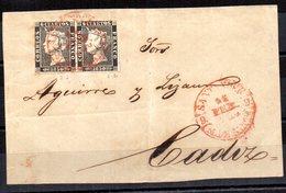 Frontal De Carta Con Matasellos Rojo  Y Sellos En Pareja Posiblemente Tipo 1 Y 2. - 1850-68 Reino: Isabel II