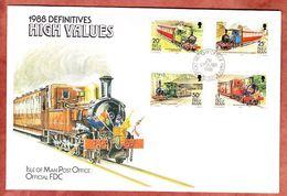 FDC Mit Inhalt, Isle Of Man, Lokomotiven, Erstausgabestempel Douglas, 1988 (48262) - Isle Of Man