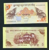 BHUTAN  -  2015  5 Ngultrum  UNC Banknote - Bhutan