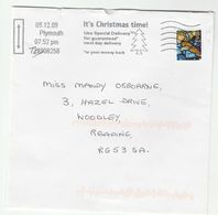 2009 Plymouth GB COVER CHRISTMAS Stamps SLOGAN Pmk ITS CHRISTMAS TIME, USE SPECIAL DELIVERY FOR GUARANTEED DELIVERY - Christmas