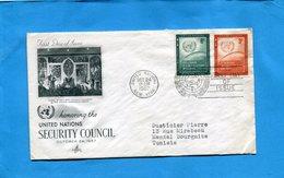 """MARCOPHILIE Lettre-USA """"NATIONS UNIES""""1957 >TUNISIE-2-stampsN°52-3 Conseil De Sécurité - New-York - Siège De L'ONU"""