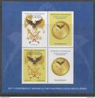 MADAGASCAR, 2017, MNH, FREEMANSONRY, MASONS, 25TH WORLD FREEMASONS CONGRESS, ANTANANARIVO, BIRDS, EAGLES, SHEETLET, RARE - Freemasonry