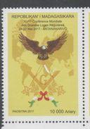 MADAGASCAR, 2017, MNH, FREEMANSONRY, MASONS, 25TH WORLD FREEMASONS CONGRESS, ANTANANARIVO, BIRDS, EAGLES, SCARCE, 1v - Freemasonry