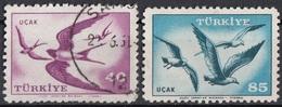 Turchia 1959 Sc. C31-C33 Uccelli Birds : Swallows Rondini - Gabbiani -  Gulls.  Turkive - Turkey Used Posta Aerea - 1921-... Republic