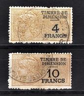 FRANCE  - LOT 2 TIMBRES FISCAUX DIMENSION - Médaillon De Daussy - Fiscale Zegels