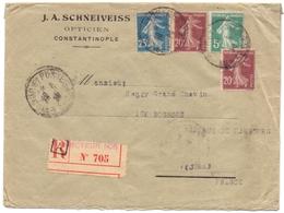 Lettre Recommandée Semeuse De Contantinople Turquie Tresor Et Poste 506 Pour Le Jura - 1921-1960: Période Moderne