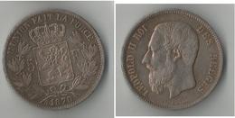 BELGIQUE  5   FRANCS 1870  ARGENT - 1865-1909: Leopold II