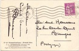 Type Paix Sur Carte Obl Le Havre A New York - Marcophilie (Lettres)
