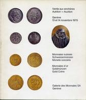Gallerie Des Monnaies Sa Geneve - Vente Aux Encheres Auktion Aucyion - Catalogo D'asta - Novembre 1978 - Libri & Software