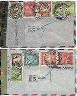 CHILE Two Censored Covers Posted 10 Airmail Stamps COVER USED - Chile