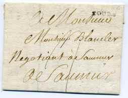 MP TOURS  Lenain N°3 / Avril 1783 / Dept Indre Et Loire / A Destination De Saumur - Marcophilie (Lettres)