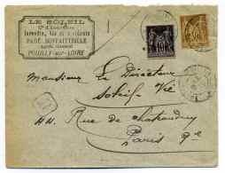 Lettre  AR  De POUILLY SUR LOIRE / Dept De La NIEVRE / Aff Composé Type SAGE / 1901 - Marcophilie (Lettres)