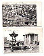 """ITALIE . ROMA . """" PANORAMA VISTO DALLA CUPOLA DI S. PIETRO """" & """" TEMPIO DI VESTA  """" . 2 CARTES POSTALES - Réf. N°8410 - - Roma (Rome)"""