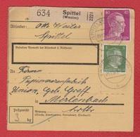 Colis Postal  -  Départ Spittel ( L Hôpital  ) 9/12/1943  -- - - Allemagne