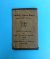 UNITED STATES LINES- SS LEVIATHAN & SS GEORGE WASHINGTON Antique Canvas Emigrants Ticket Wallet Late 1800's&early 1900's - Boats