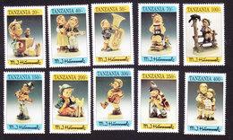 Tanzania, Scott #1067-1076, Mint Hinged, Hummel, Issued 1994 - Tanzanie (1964-...)